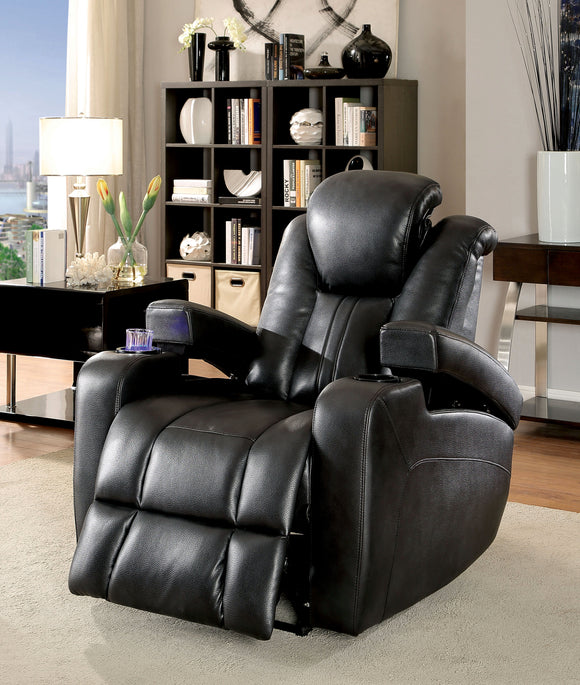 Janis Contemporary Breathable Leather Recliner Chair, Dark Gray