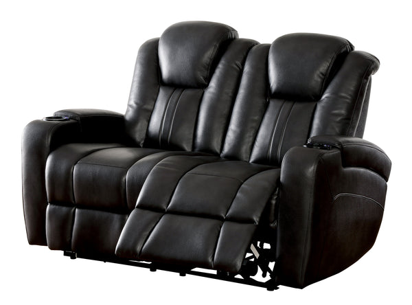 Janis Contemporary Breathable Leather Recliner Loveseat, Dark Gray