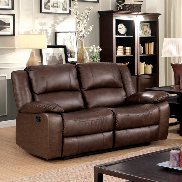 Chandler Transitional Top-Grain Leather Loveseat Recliner, Brown - HD Furniture