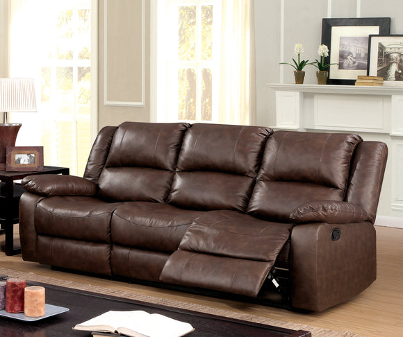 Chandler Transitional Top-Grain Leather Sofa Recliner, Brown - HD Furniture