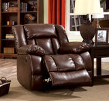 Jonas Transitional Bonded Leather Recliner Chair, Brown