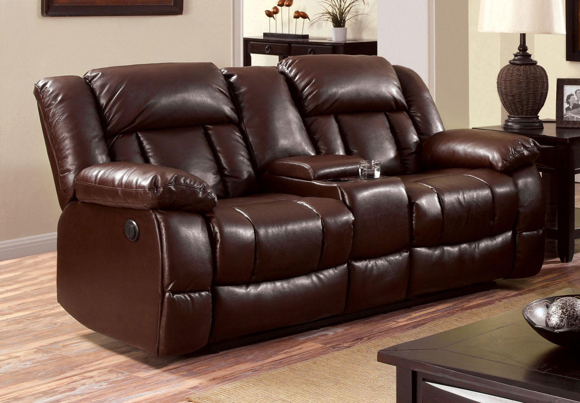 Jonas Transitional Bonded Leather Recliner Loveseat, Brown
