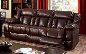 Jonas Transitional Bonded Leather Recliner Sofa, Brown