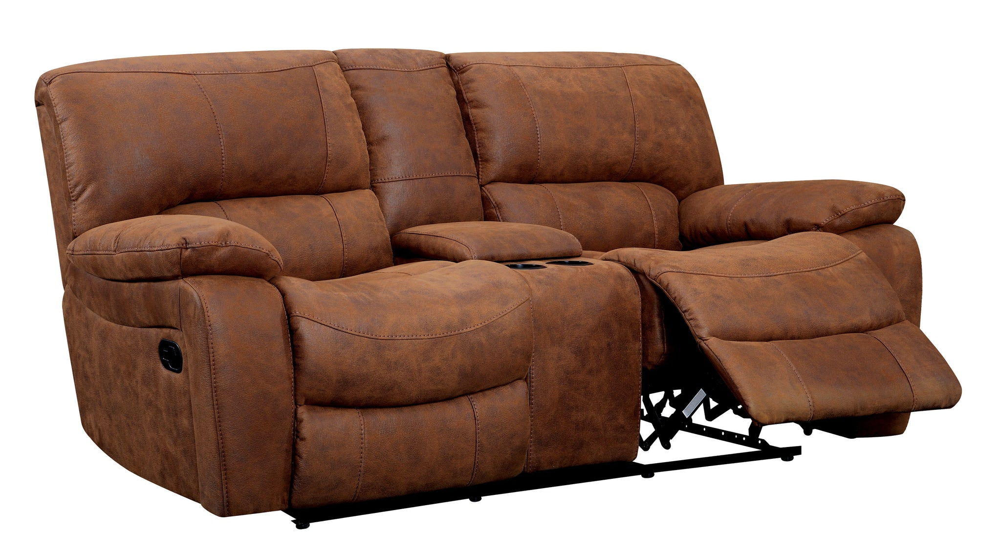 Mandalina Transitional Leatherette Loveseat Recliner, Brown