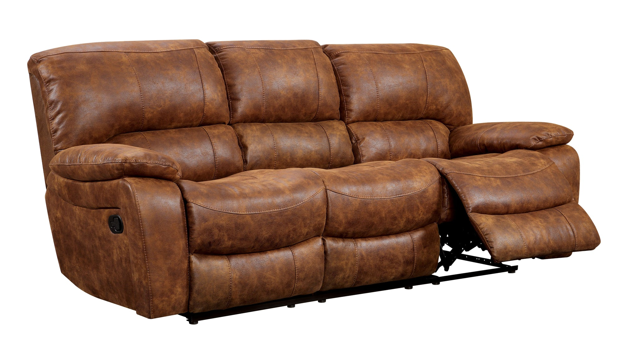 Mandalina Transitional Leatherette Sofa Recliner, Brown
