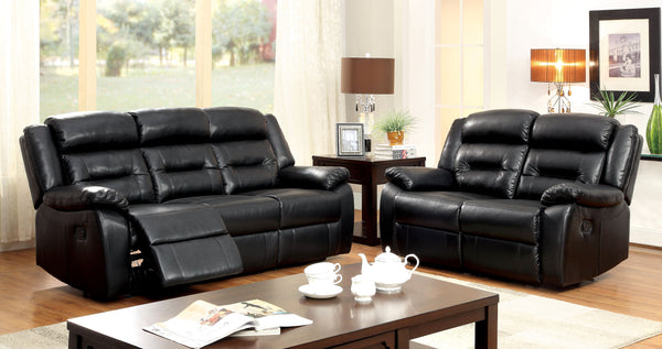 Jeffray Contemporary Bonded Leather Loveseat Recliner, Black