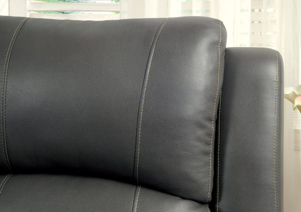 Larissa Transitional Leatherette Sofa Recliner, Gray