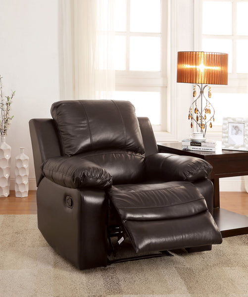 Ian Transitional Top-Grain Leather Recliner Chair, Brown