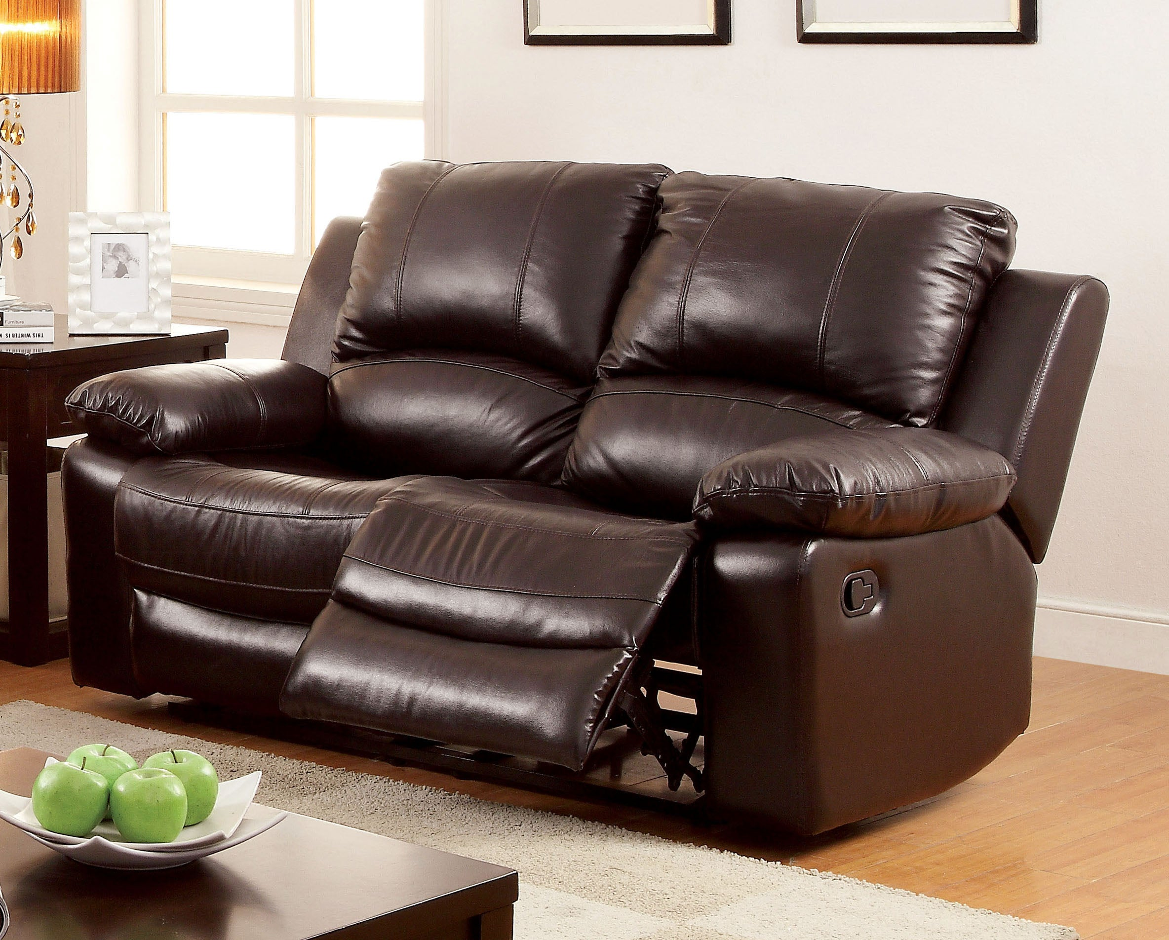 Ian Transitional Top-Grain Leather Loveseat Recliner Brown