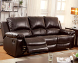 Ian Transitional Top-Grain Leather Sofa Recliner Brown