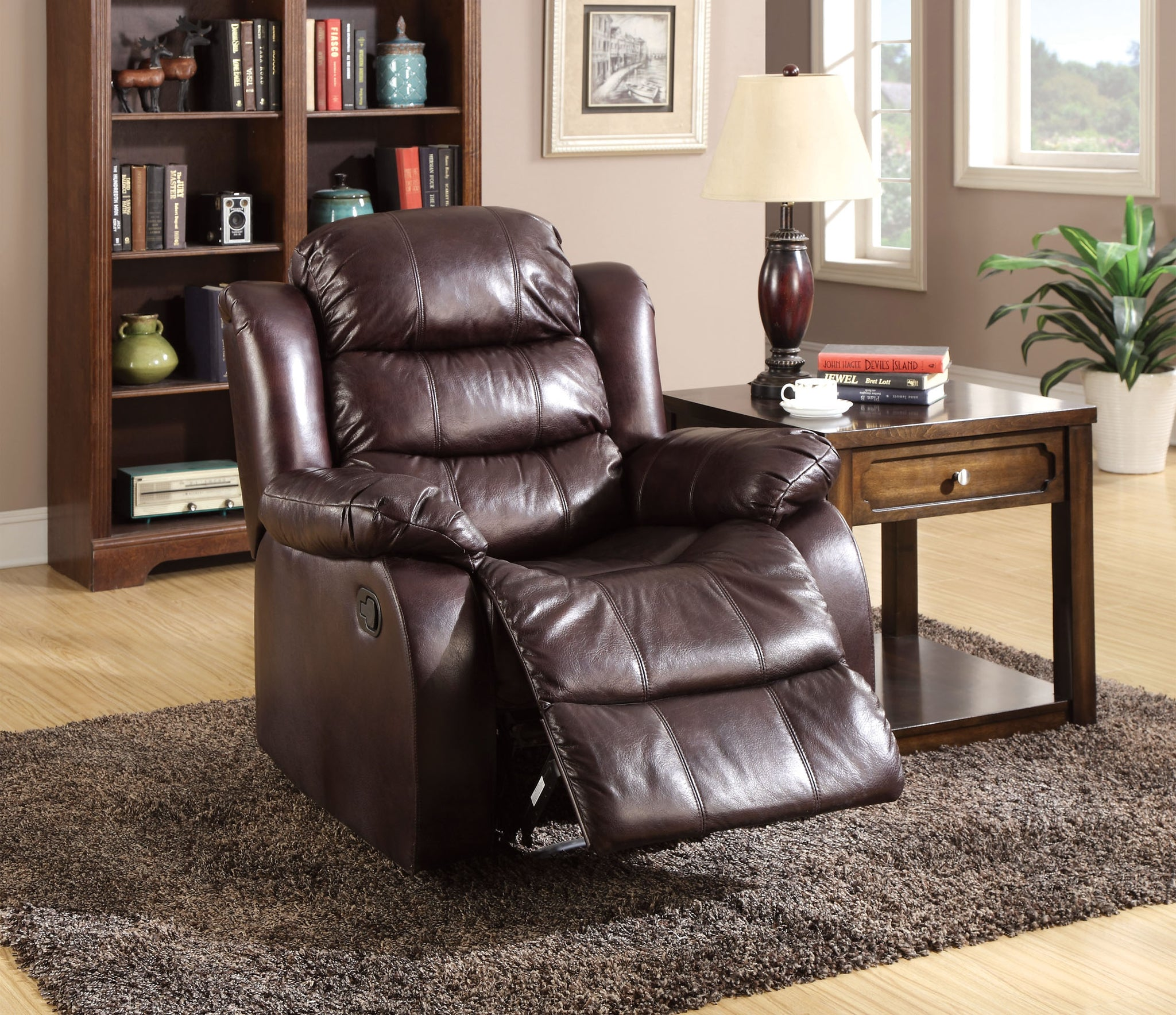 Sharpei Transitional Leather-like Recliner Chair, Rustic Dark Brown