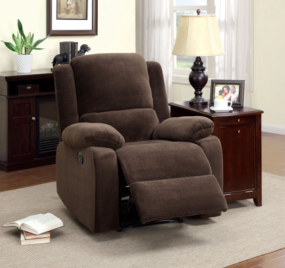 Acres Transitional Flannelette Loveseat Chair, Dark Brown
