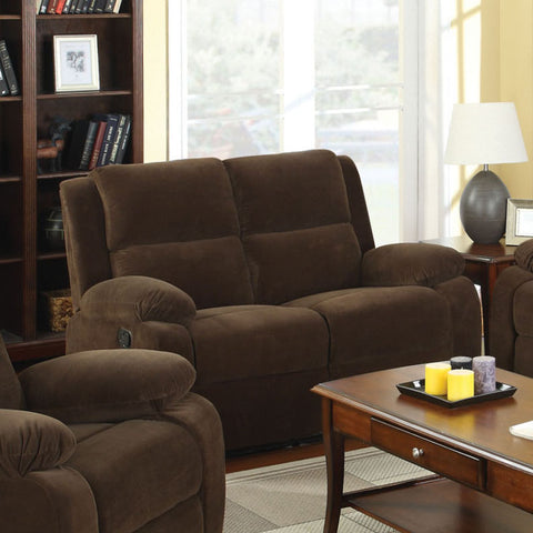 Acres Transitional Flannelette Loveseat Recliner, Dark Brown - HD Furniture