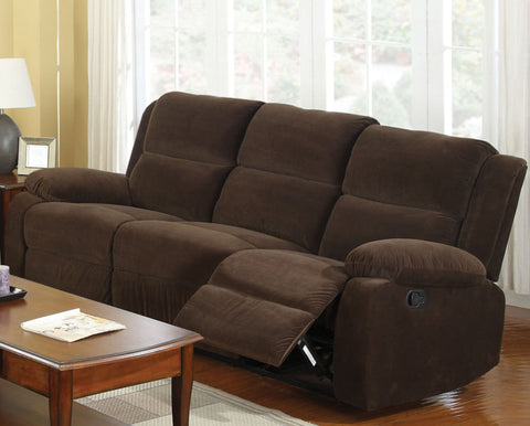 Acres Transitional Flannelette Sofa Recliner, Dark Brown - HD Furniture
