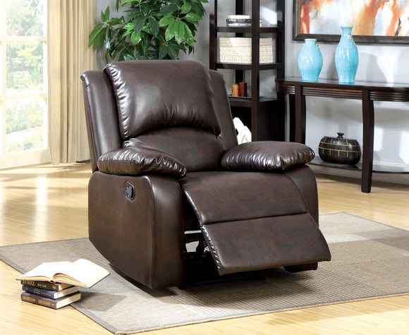 Anzo Transitional Leatherette Recliner Chair, Rustic Dark Brown