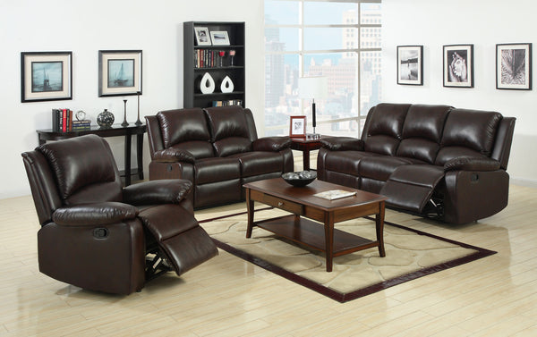 Anzo Transitional Leatherette Loveseat Recliner, Rustic Dark Brown - HD Furniture