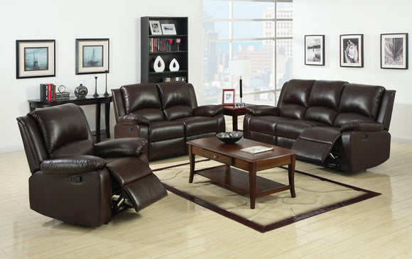 Anzo Transitional Leatherette Sofa Recliner, Rustic Dark Brown
