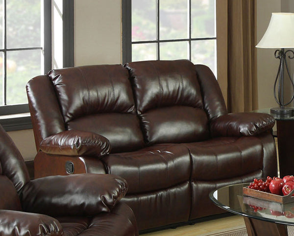 Yasmina Transitional Bonded Leather Recliner Loveseat, Rustic Brown