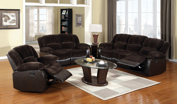 Nena Transitional Leatherette Champion Fabric Loveseat Recliner, Brown