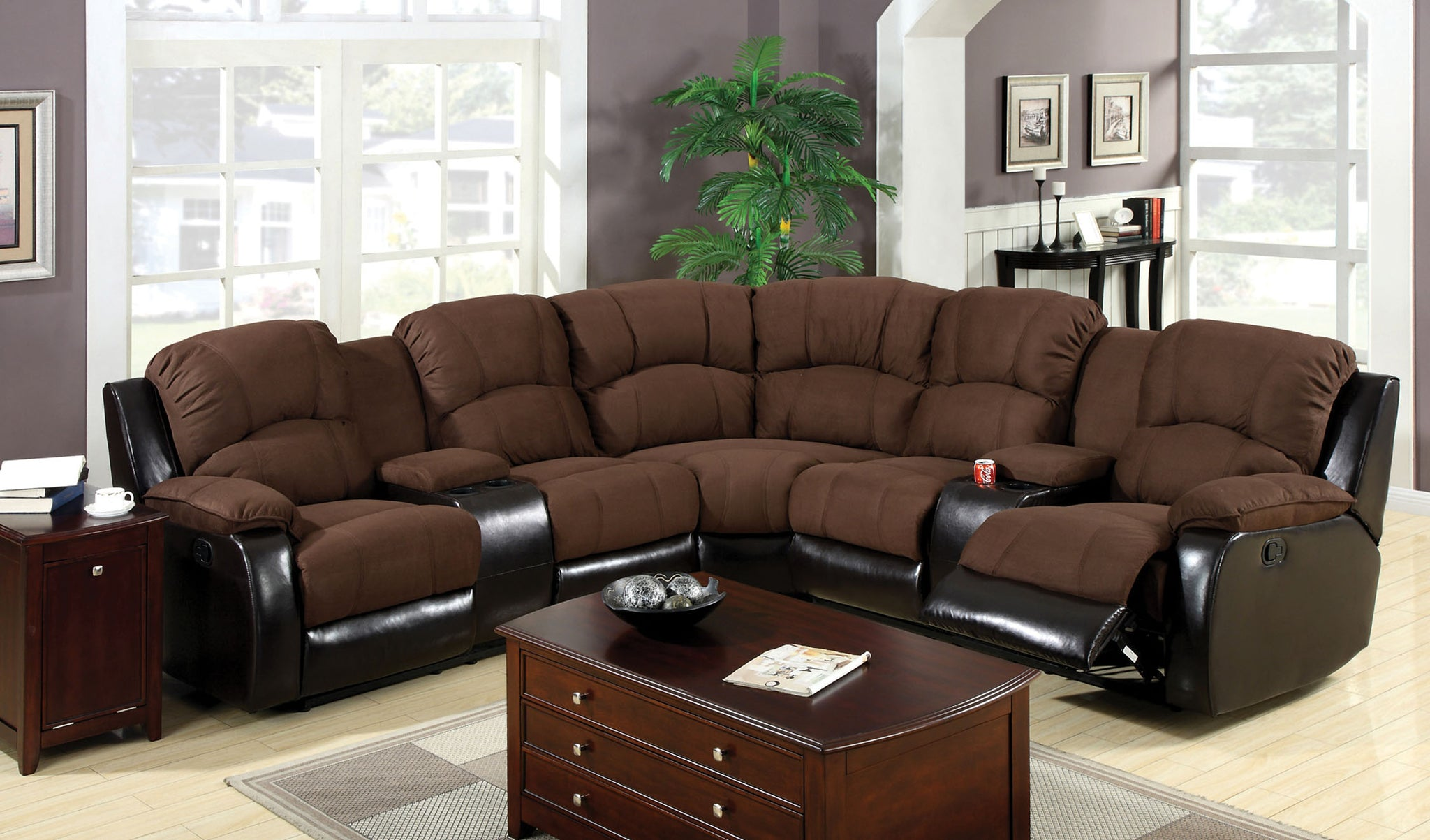 Rina Contemporary Plush Leatherette Microfiber Sectional Recliner, Brown / Espresso