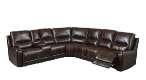 Randa Contemporary Bonded Leather Sectional Recliner, Brown
