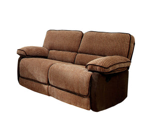 Jona Transitional Two-Tone Chenille Recliner Loveseat, Brown / Dark Brown