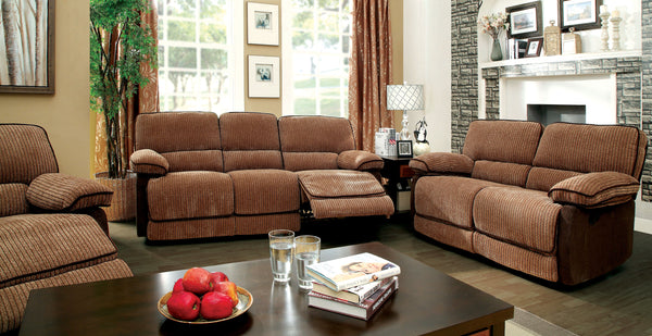 Jona Transitional Two-Tone Chenille Recliner Sofa, Brown / Dark Brown
