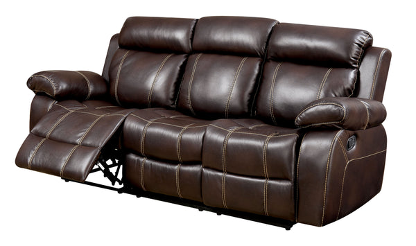 Nona Transitional Breathable Leather Sofa Recliner, Brown