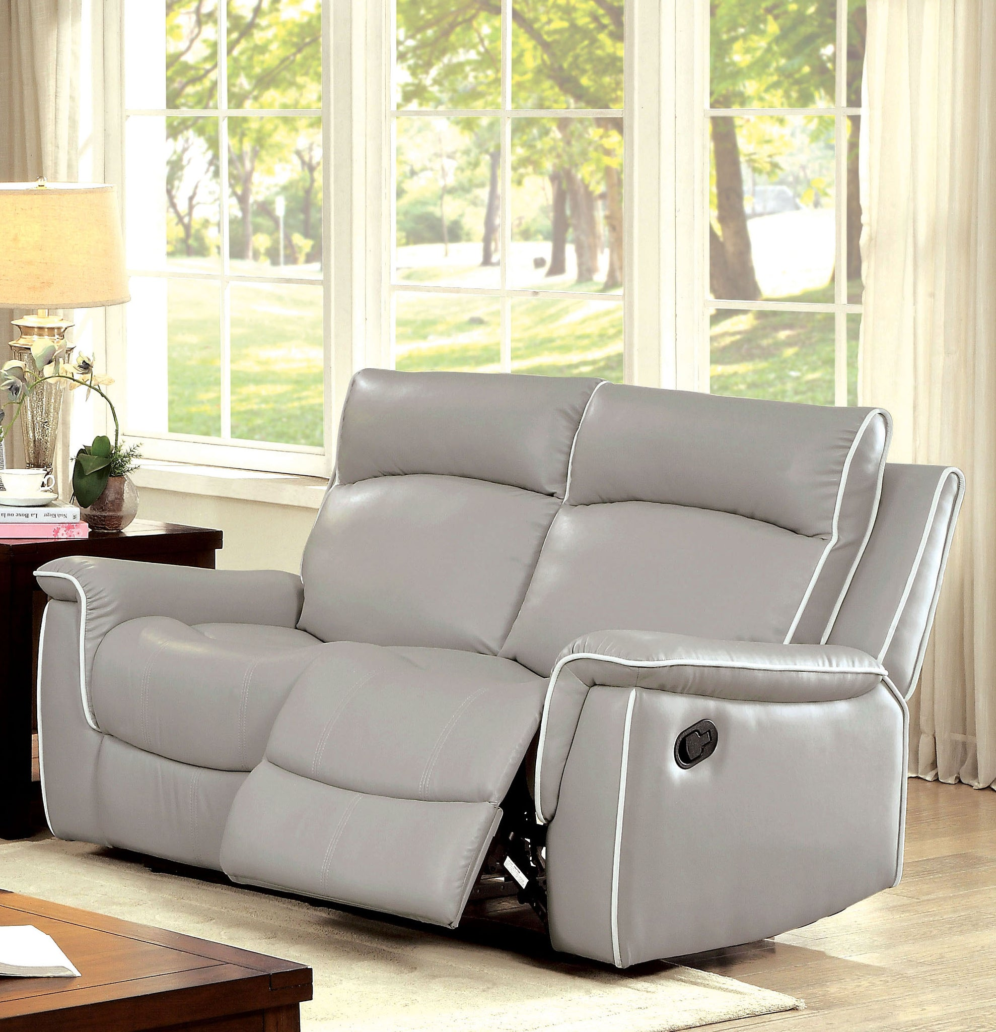 Nona Transitional Breathable Leather Loveseat Recliner, Brown