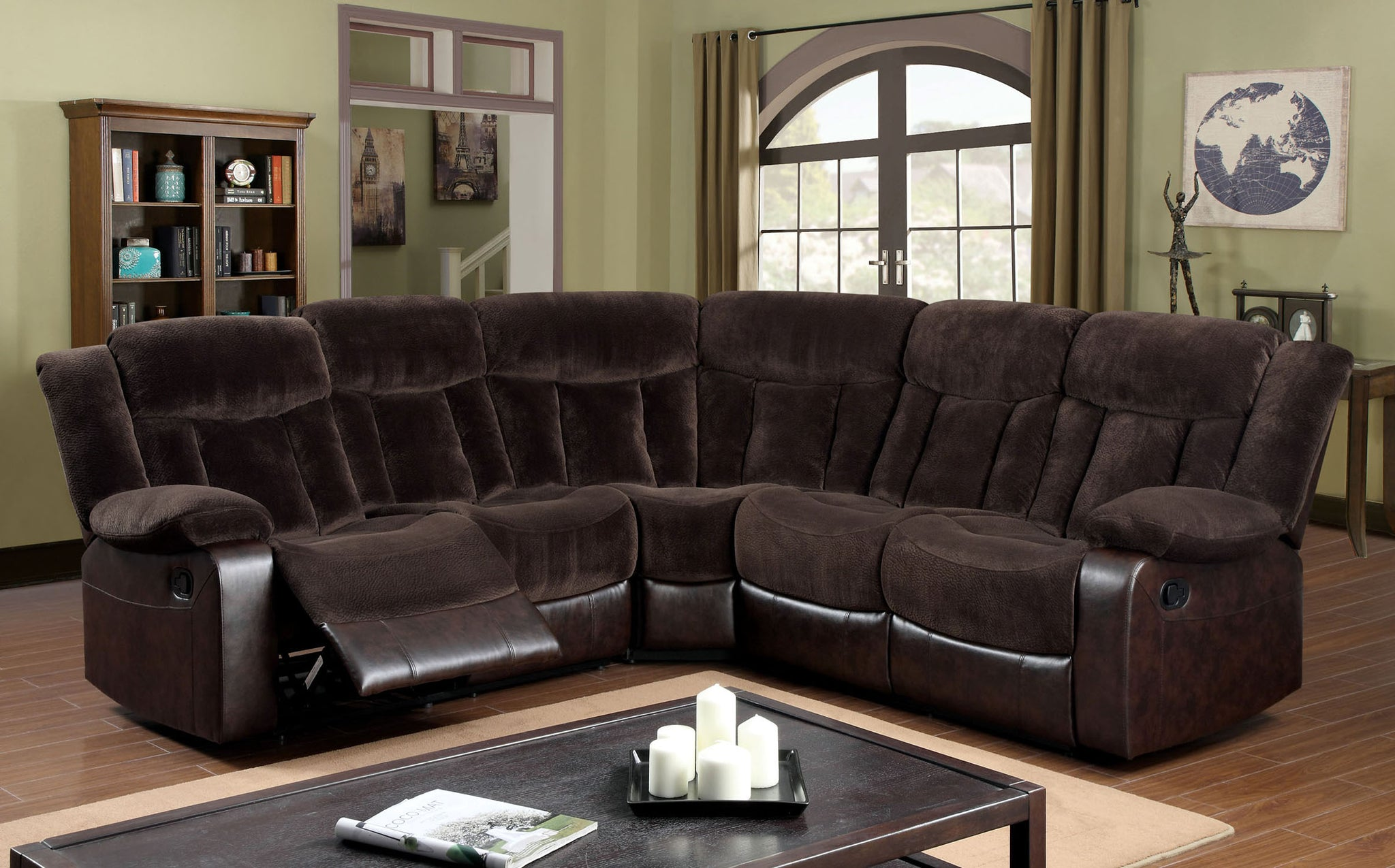 Xolo Transitional Plush Champion Fabric Recliner Sectional, Brown
