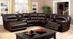 Dagon Transitional Plush Breathable Leatherette Sectional Recliner, Brown - HD Furniture