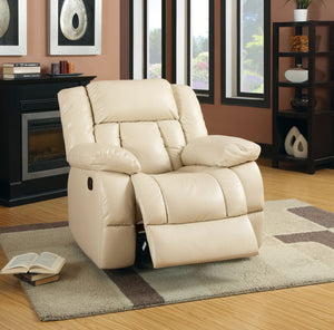 Jepson Transitional Bonded Leather Chair Recliner, Ivory