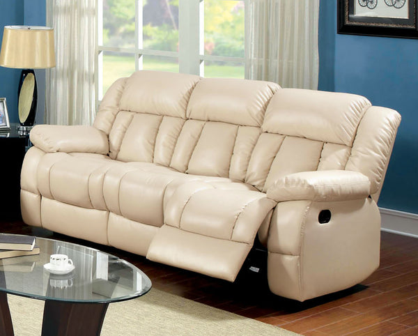 Jepson Transitional Bonded Leather Sofa Recliner, Ivory