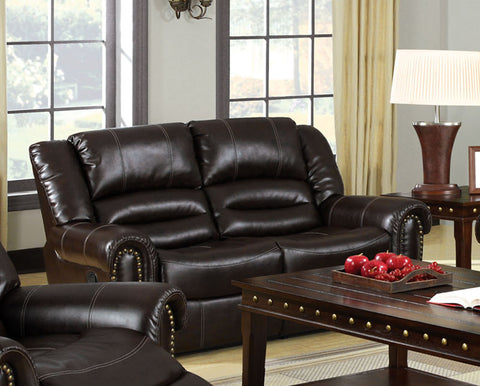 Damien Transitional Bonded Leather Loveseat Recliner, Dark Brown - HD Furniture