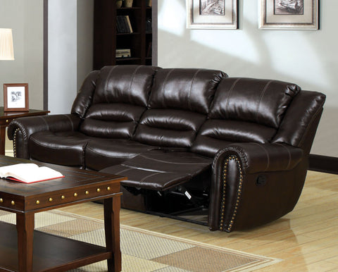 Damien Transitional Bonded Leather Sofa Recliner, Dark Brown - HD Furniture