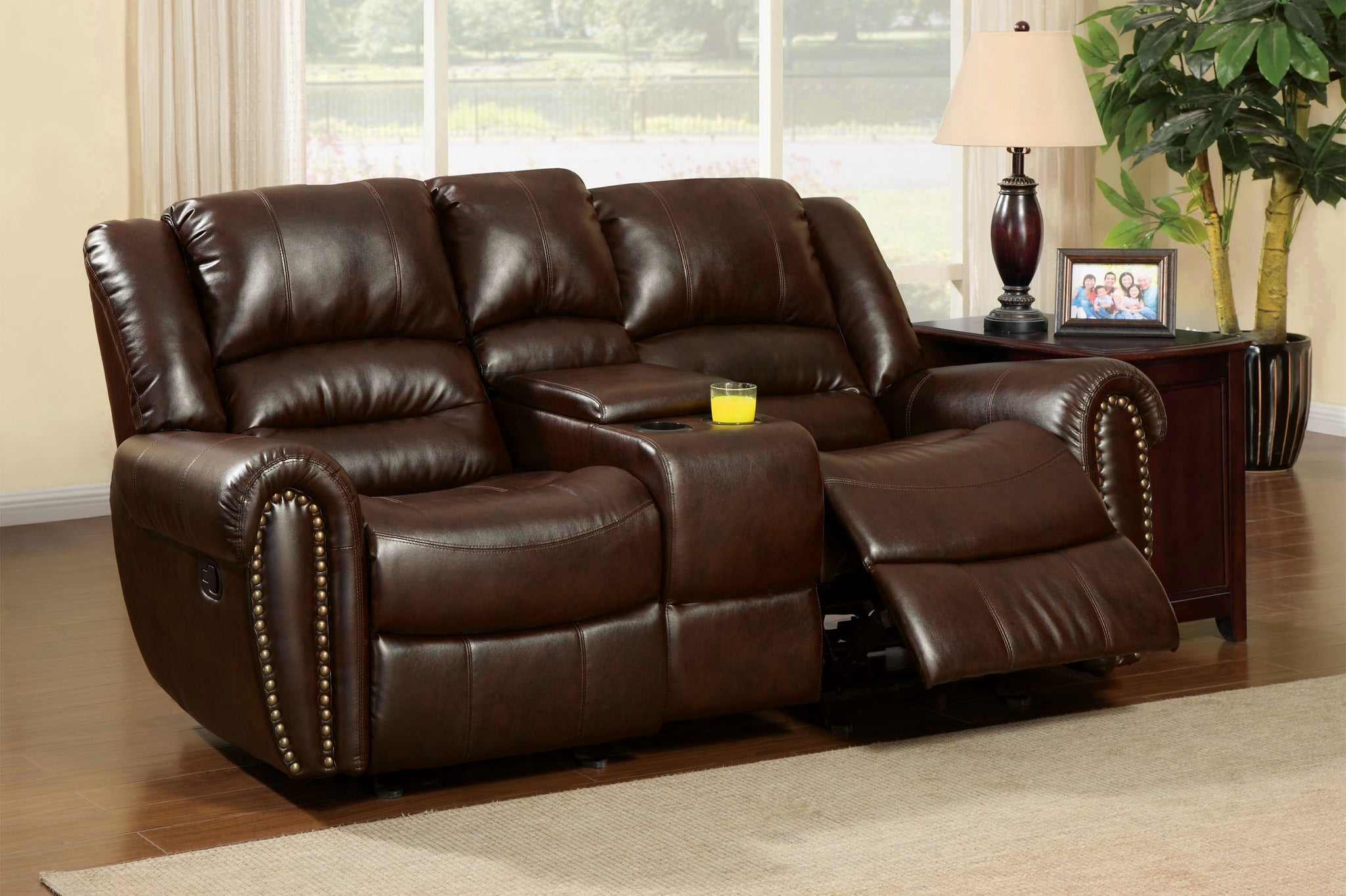 Damien Transitional Bonded Leather Loveseat Recliner with Center Console, Dark Brown - HD Furniture