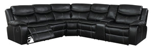 Jenna Transitional Breathable Leather Sectional Recliner, Black