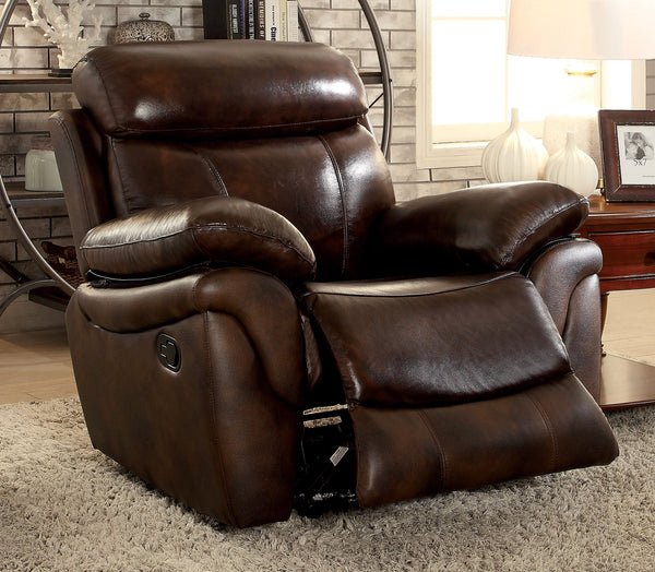 Serna Transitional Top-Grain Leather Chair, Brown