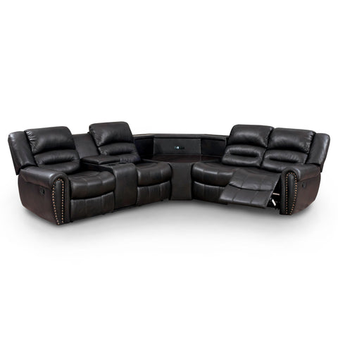Jackie Transitional Breathable Leather USB Sectional Recliner, Dark Brown