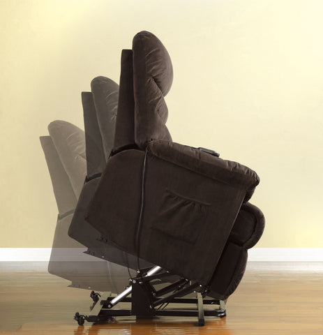 Dara Transitional Bella Fabric Stand-Assist Power Lift Recliner Chair, Cocoa Brown - HD Furniture
