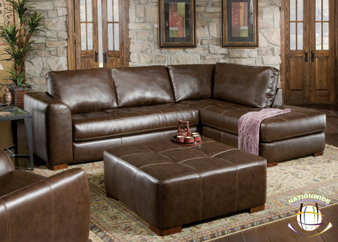 Brown Bonded Leather Sectional by HD Furniture - HD Furniture