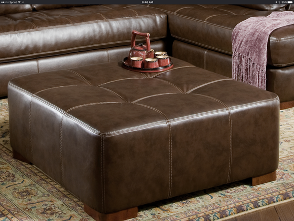 Oversized Brown Bonded Leather Ottoman by HD Furniture