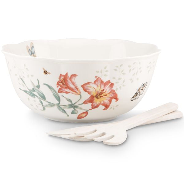 Butterfly Meadow® Salad Bowl & Wooden Servers by Lenox - HD Furniture