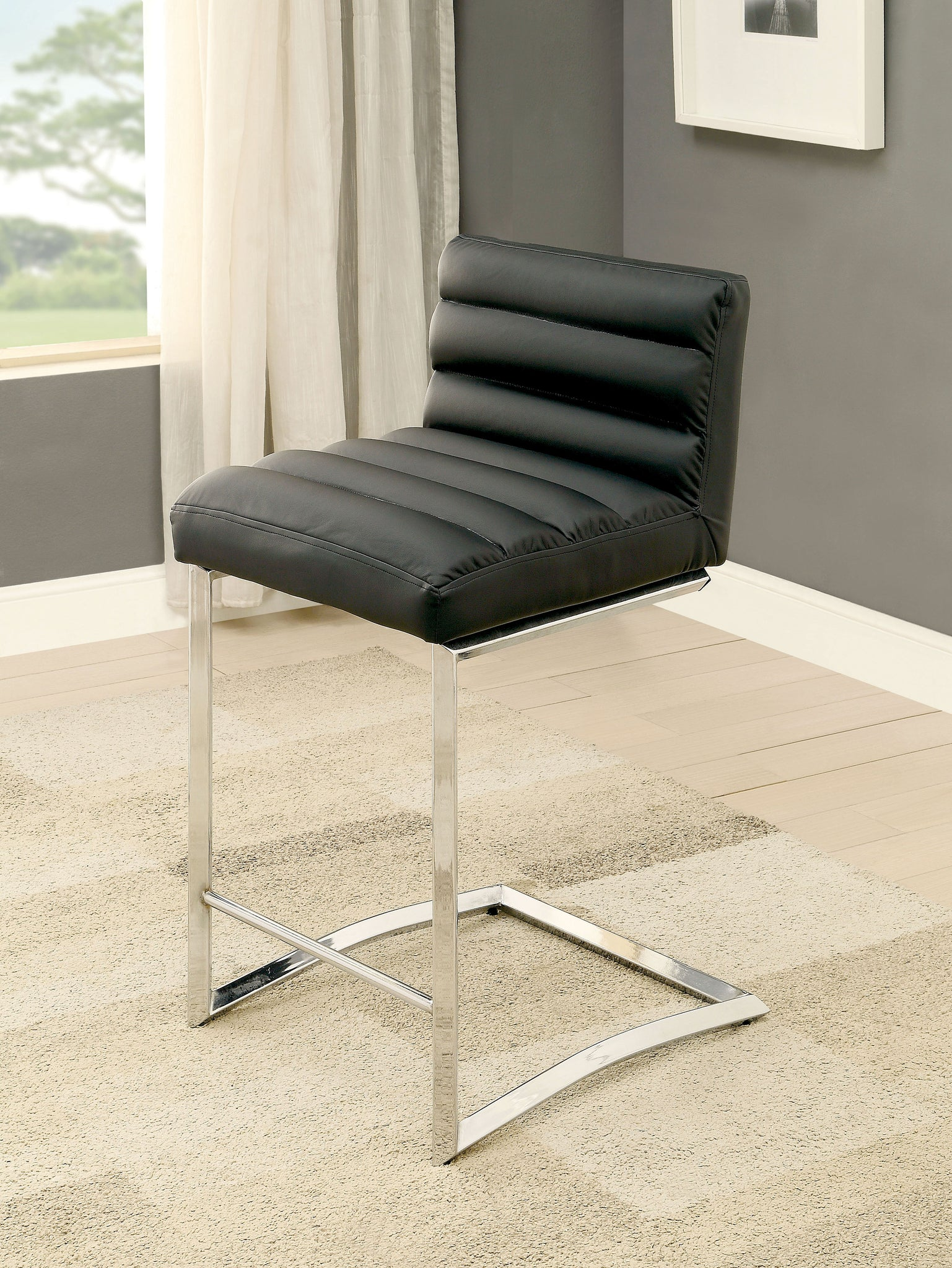 Oliver Contemporary Counter Height Chair, Black