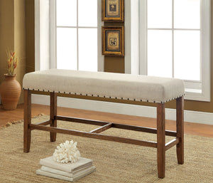 Hallie Contemporary Counter Height Bench, Natural Tone