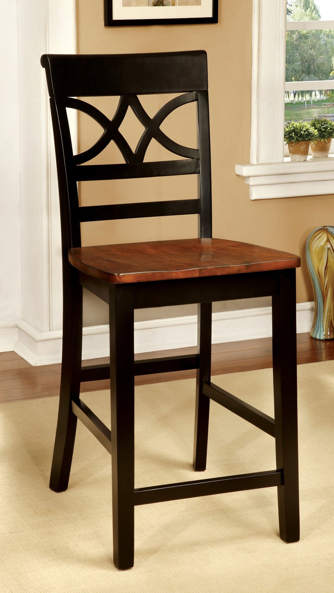 Eleita Cottage Counter Height Chair, Oak and Black