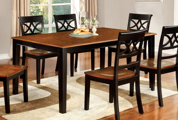 Eleita Transitional Dining Table, Cherry and Black