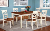 Eleita Transitional Dining Table, Cherry and Vintage White