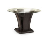 Kaci Contemporary Round Dining Table, Dark Cherry