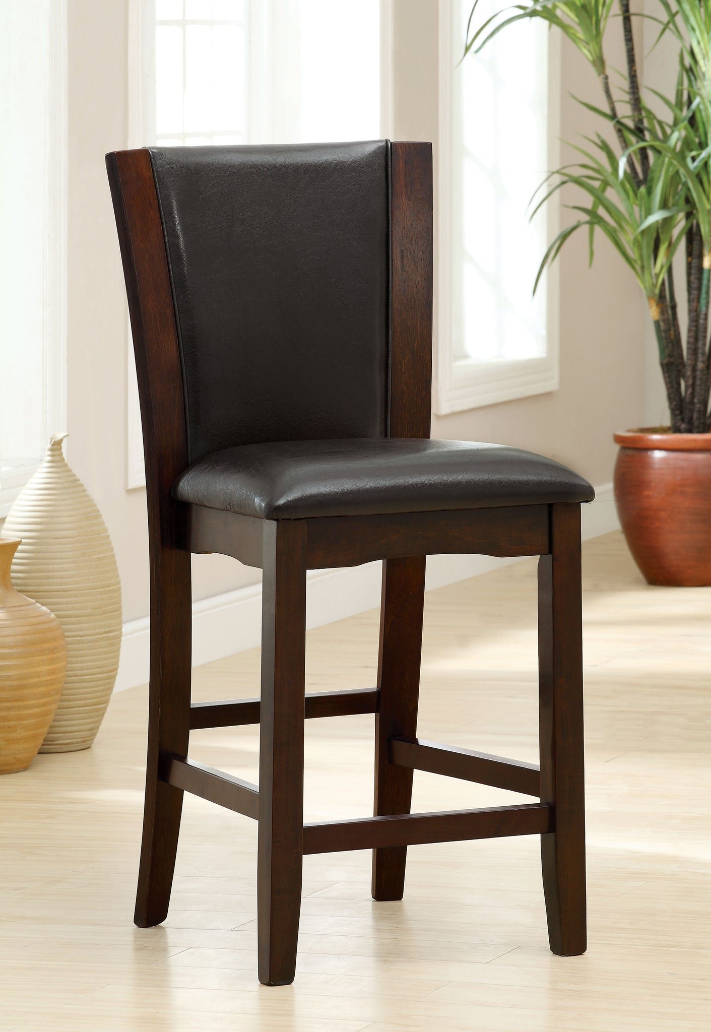 Gretch Contemporary Counter Height Chair, Dark Cherry